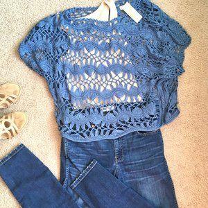 Trendy crochet blue chambray oversized knit top